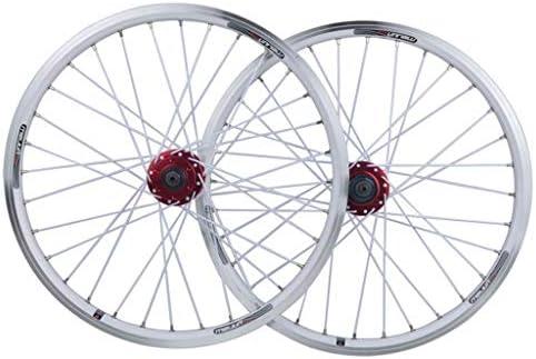 MZPWJD Juego Ruedas Bicicleta Rueda Bicicleta BMX 20 Pulgadas Llanta Aleación Doble Capa Disco V Freno Liberación Rápida 7 8 9 10 Velocidad 32H (Color : White, Size : 20in): Amazon.es: Deportes y aire libre