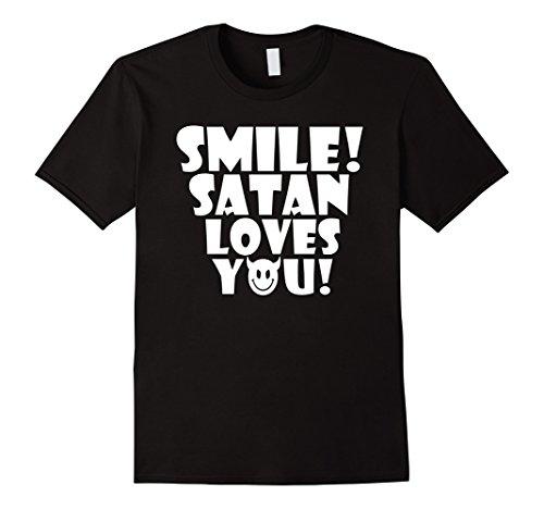 Mens Smile  Satan Loves You    Funny Atheist Tee Small Black
