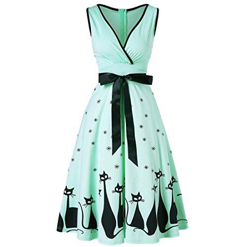 JYC Verano Falda Larga,Vestido De La Camiseta Encaje,Vestido Elegante Casual,Vestido Fiesta Mujer Largo Boda, Verano Grande Tamaño Escote en V Retro Gato Impresión Vestir Menta Verde