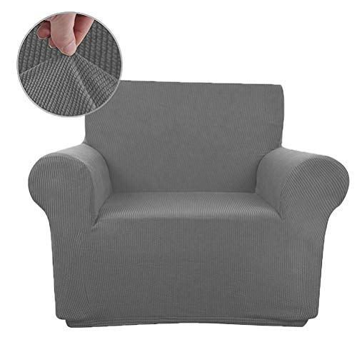 MRNIU Soft Cover Couch Slipcover Furniture Protector Form Fit Stretch Stylish Furniture Cover/Protector Machine Washable Slip Cover Throw for Pets Dogs Kid (Gray, Chair)