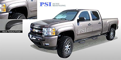 PSI Auto Restyling 803-0108T Extension Style Fender Flares; Front And Rear; Flare Width 6 in; Tire Coverage 1.5 in.; Textured Black; No Gas Cap Cutout