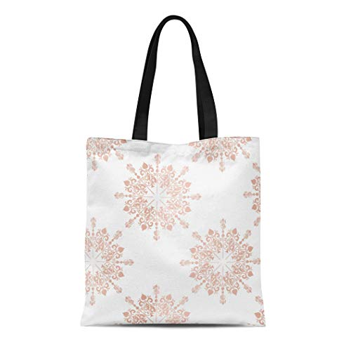 Semtomn Canvas Tote Bag Pink Blush Rose Gold Large Floral Lace Toile Pattern Durable Reusable Shopping Shoulder Grocery Bag