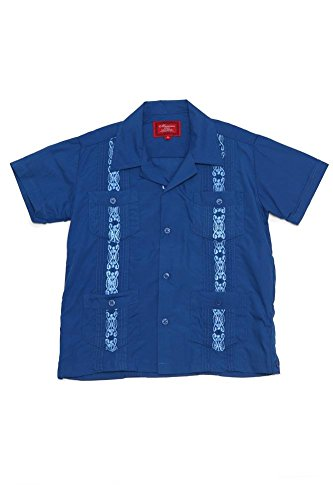 G-Style USA Boys Junior Kids Youth Guayabera Cuban Short Sleeve Collared Embroidered 4 Pocket Cotton Blend Shirt 2017-KS - Royal Blue - ()