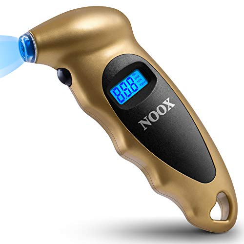 NOOX Accurate Digital Tire Pressure Gauge for Car Truck Motocycle Bicycle Jeep Sedan Limousine Wagon Tires 150 PSI - Gold
