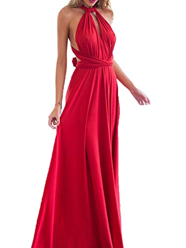 PERSUN Infinity Gown Dresses Multi-Way Strap Wrap Convertible Maxi Dresses For Womens,Red,M