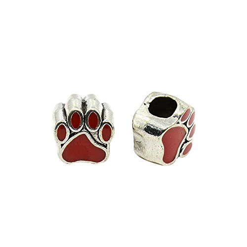 NBEADS 10 Pcs Red Dog Paw Print Alloy Enamel European Beads, Large Hole Antique Silver Tone European Charms Beads fit Bracelet Jewelry - Bead Enamel Print Paw