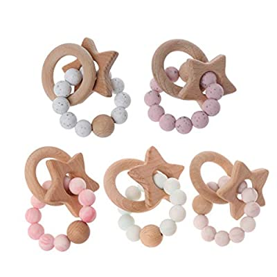 Sarora - Baby Teether Rings Beech Wood Teething Ring Bracelet Silicone Teethers Chew Toys: Sarora: Home & Kitchen