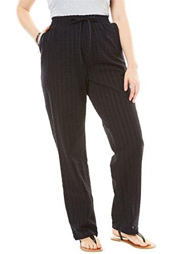 Woman Within Plus Size Petite Seersucker Pants - Black, 18 W (Petite Seersucker)