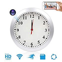 JLRKENG WiFi Hidden Camera Wall Clock Wireless Spy Camera Nanny Pet Cam with Motion Detection Indoor Security Cam for Home and Office