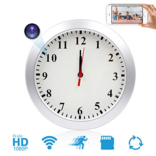 JLRKENG WiFi Hidden Camera Wall Clock Wireless Spy Camera Nanny Pet Cam with Motion Detection Indoor Security Cam for Home and Office (Spy Cam Radio)