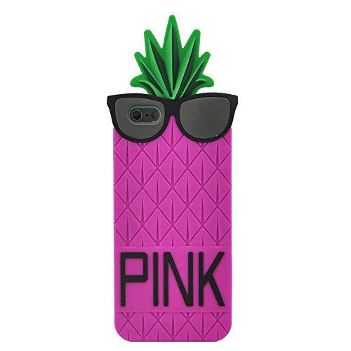 Weiduka® IPhone 6 Case 3D Cute Pineapple With Black Sunglasses Design Skin Silicone Case Cover For Apple iphone 6 6s 4.7 Inch (Rose)