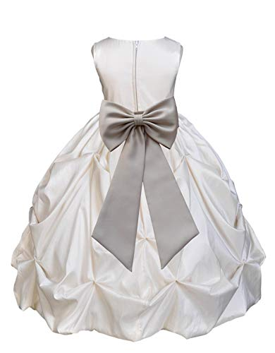 Satin Taffeta Pick-Up Bubble Ivory Flower Girl Dress Junior Prom Dresses 301T -