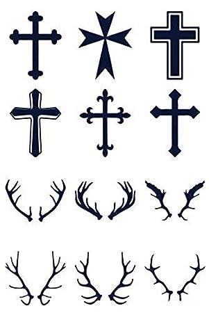 Tatuaje temporal, XLM0007, tatuaje falso, cruz, cornamenta ...