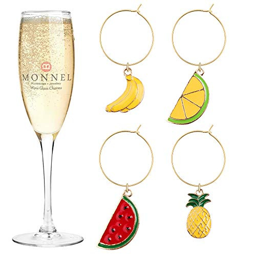 P452 Brand New Banana Orange Pineapple Watermelon Fruits Wine Charms Glass Marker for Party with Velvet Bag- Set of 4