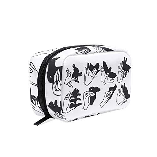 Shadow Hand Puppet Makeup Bag Organizer Portable Cosmetic Pouch Handbag With Zipper For Women Purse