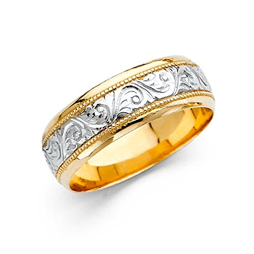 (Wedding Ring Solid 14k Yellow White Gold Band Filigree Design Polished Mens Style Two Tone 7 mm Size 10.5)