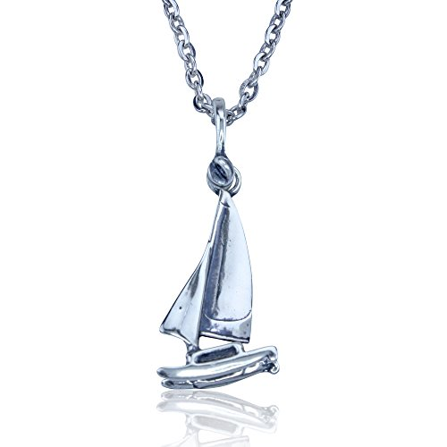 Sterling Silver Catamaran Sailboat Pendant on 18 Inch Stainless Steel Link Chain