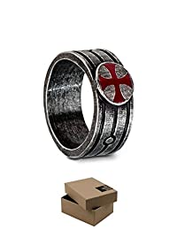 Assassin's Creed Templar Ring Official Ubisoft Collection by Ubi Workshop (Medium, Silver)