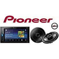 Pioneer MVH-200EX Double Din Digital Multimedia Video Receiver with 6.2 WVGA Display, and Built-in Bluetooth Does NOT Play CDs and TS-G1645R 6-1/2 2-way car speakers & SOTS Freshener