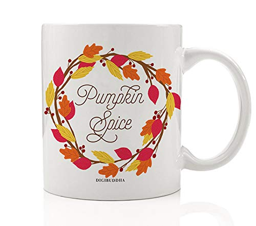 Autumn Leaves Wreath Coffee Beverage Mug Gift Idea Pumpkin Pie Spice Fall Seasonal Halloween Thanksgiving Holiday Dinner Present for Friends Family Coworkers 11oz Ceramic Tea Cup Digibuddha DM0372 -
