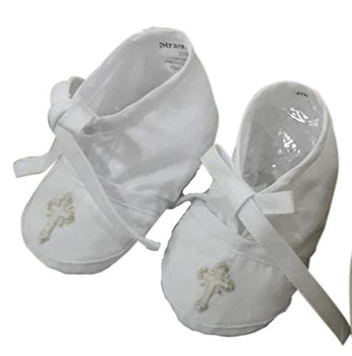 Baby Booties Christening Baptism Infant white ecru embroidered cross Handmade by Strasburg ()