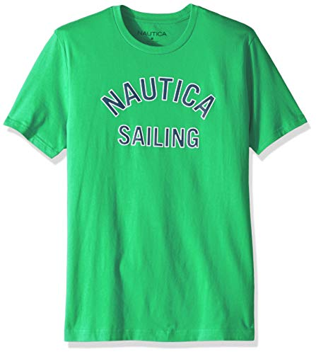 Nautica Men's Short Sleeve 100% Cotton Classic Logo Series Graphic Tee, Summer Green, Large