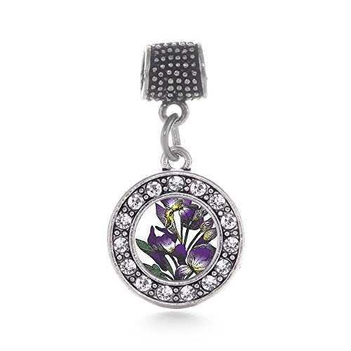 Iris Circle (Inspired Silver Iris Flower Circle Memory Charm Fits Pandora Bracelets & Compatible with Most Major Brands such as Chamilia, Murano, Troll, Biagi and other European Bracelets)