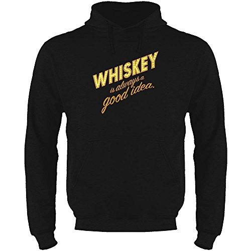 Whiskey is Always A Good Idea Black XL Mens Fleece Hoodie Sweatshirt (Single Malt Cask)
