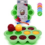 USA Standard- BPA Free | Homemade Baby Food & Frozen Breastmilk Freezer Storage Silicone Tray | Cover Lid | 1.5oz Portion Containers, Cups | Bonus 2 White-Hot Spoons | Makes a Great Gift! | Green