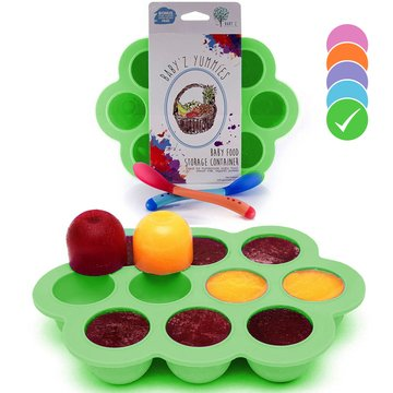 Milk Glass Stock - USA Standard- BPA Free | Homemade Baby Food & Frozen Breastmilk Freezer Storage Silicone Tray | Cover Lid | 1.5oz Portion Containers, Cups | Bonus 2 White-Hot Spoons | Makes a Great Gift! | Green
