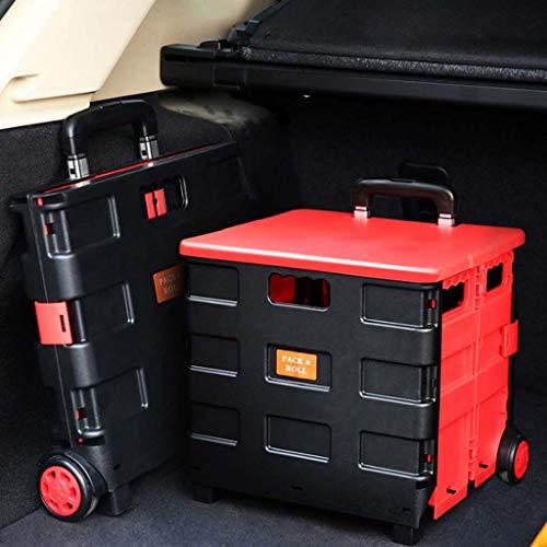 Carro De La Compra Plegable De La Caja De Almacenamiento - Caja De Almacenamiento Plegable Con Ruedas Con Manija De Aluminio...