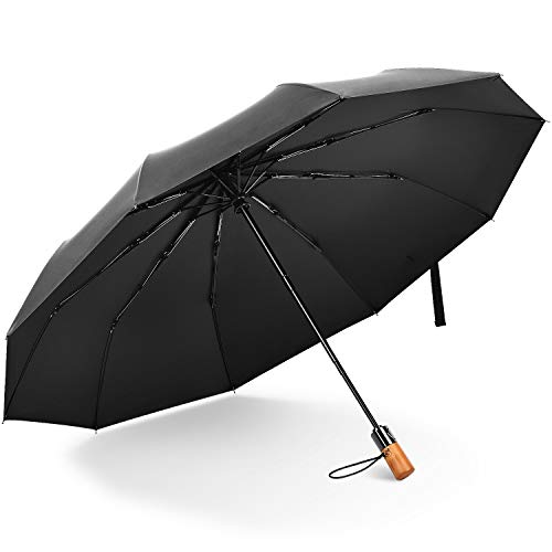 "HST Travel Folding Umbrellas for Rain, 41.3"" Durable Compact Auto Open Close Umbrella with Real Wood for Unisex-adult, Black"