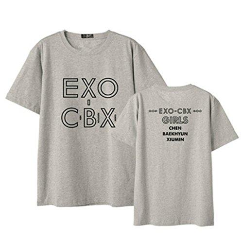 Chen di Tifosi Album T CBX Corte per T T Shirt KPOP Shirt Top Supporto Baekhyun Maniche a Unisex 1 Shirt Casual Tees Xiumin Harajuku EXO qw1aO