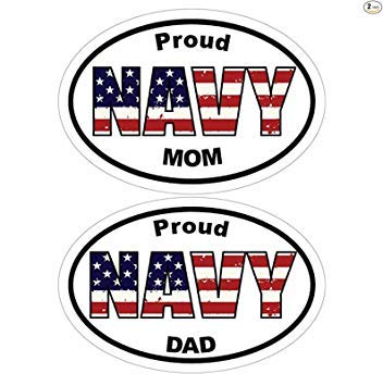 ION Graphics 2pcs Navy Decal - Oval American Flag Proud Navy Dad and Mom Vinyl Sticker - Navy Bumper Stickers - Perfect Navy Father Mother Parent Gift Set - Made in The USA Size: 4.7