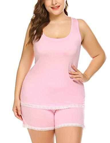 Top Size Plus Pajama (Aimado Plus Size Sexy Tank Top Pajama Sets Soft Cotton Sleepwear Shirt and Shorts(20 plus,Pink))