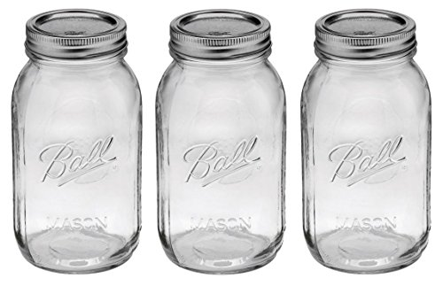 Ball Mason Regular Mouth Quart Jars with Lids and Bands, Set of 3