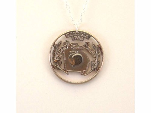 Georgia Cut-Out Coin Necklace State Quarter 18 inch Chain