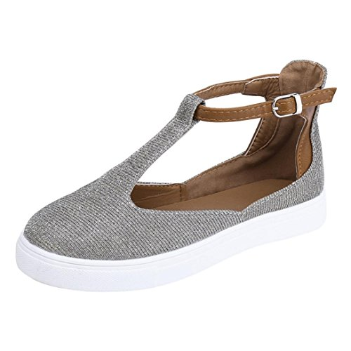 Platform Gray Sneaker Fheaven Shoes Vintage Toe Strap Shoes Women Round Flat Buckle Heel Casual xYqYO6frw