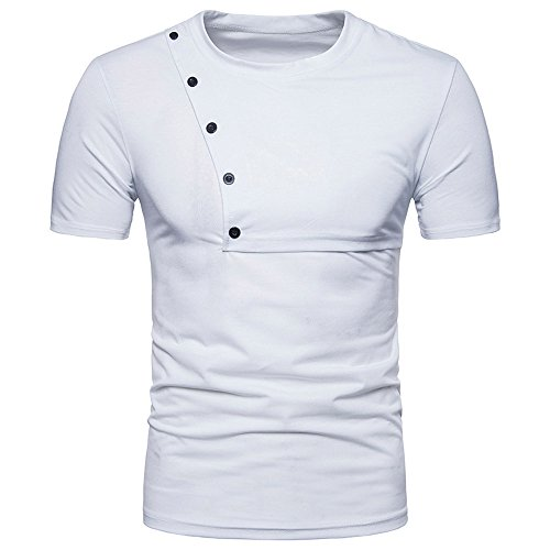 - Sunhusing Mens Solid Color Short Sleeve Stitching Summer Slim Button-Down Decor T-Shirt Personality Top