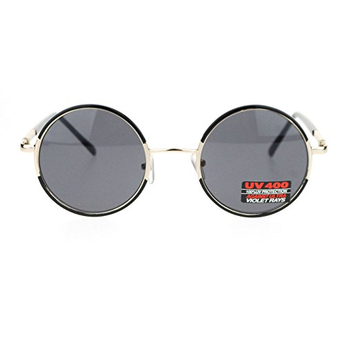 Retro Unisex Round Circle Lens Hippie John Lennon Metal Frame Sunglasses Black Gold (1920s Sunglasses)