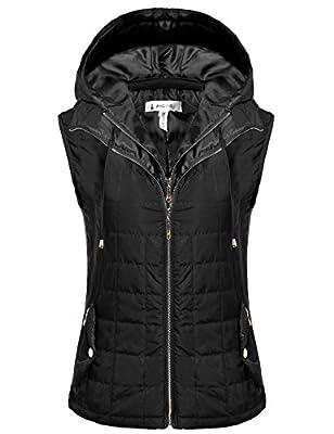 ANGVNS Women's Outwear Lightweight Packable Puffer Down Winter Warm Vest Coat With Detachable Hood