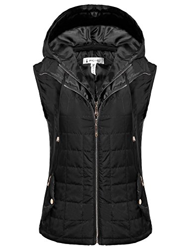 ANGVNS+Women%27s+Outwear+Lightweight+Packable+Puffer+Down+Winter+Warm+Vest+Coat+With+Detachable+Hood