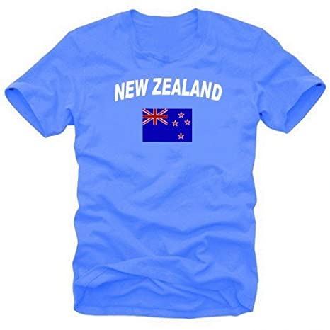 NEUSEELAND Fu/ßball T-Shirt royalblau/_ringer S M L XL XXL Coole-Fun-T-Shirts NEW ZEALAND