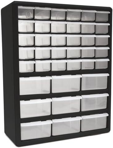 2 Set Homak 39-Drawer Parts Organizer, Black, HA01039001