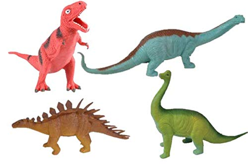 "M&E 4 Fun 8"" Squishy Guttzie Buddy Dinosaurs! Apatosaurus, Brachiosaurus, T-Rex, & Stegosaurus- Party Favors, Prizes, Holiday Stuffers (1 of Each)"