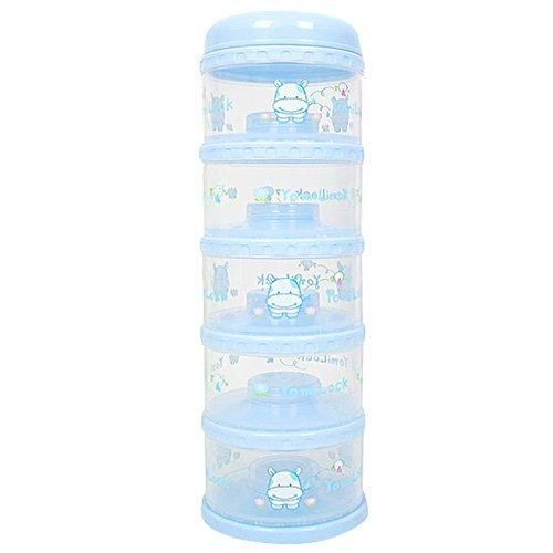 Yomilock 5-Layer Antibiotic Milk Powder Container / Dispenser, Blue - Made In Korea by Yomilock