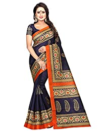 CRAFTSTRIBE Printed Bollywood Saree Party Wear Indian Ethnic Wedding Silk Sari for Womens