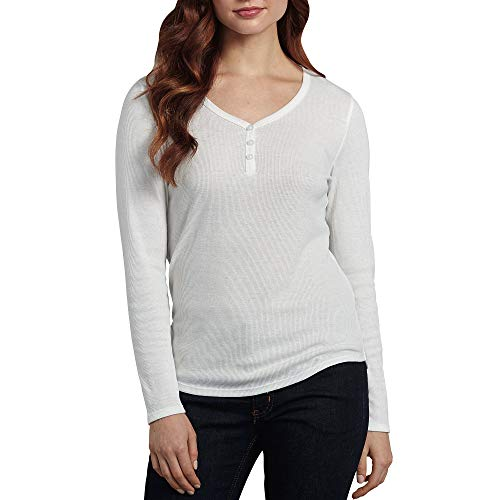 Dickies Women's Long-Sleeve 3-Button Henley Shirt, Opaque White, 2X-Large (Dickies Womens Long Sleeve Shirts)