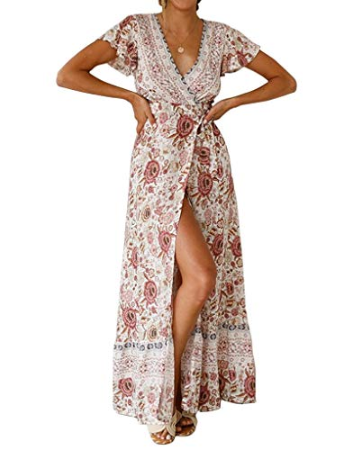 Byinns Floral Maxi Dress for Women Midi Faux Wrap Dress Bohe Ruffle Summer Casual Dresses for Beach Party