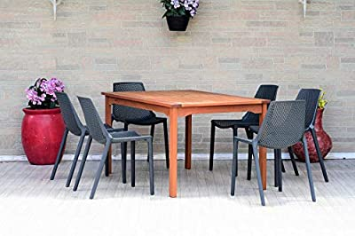 Amazonia Glenbrook 7 Piece Patio Dining Set | Table Made of Eucalyptus with Grey Resin Chairs| Durable and Ideal Outdoors